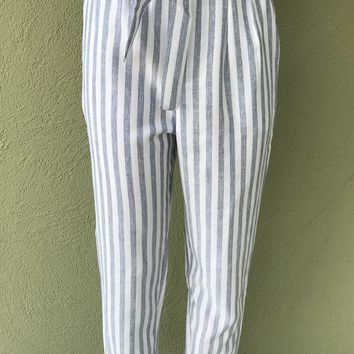 Striped Skies Pants- Grey