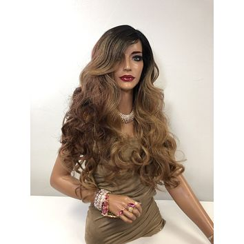 """Brown Balayage Long Curly Hair Lace Front Wig 20""""  Carmen 0119"""