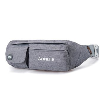 DKF4S AONIJIE Men Women Running Bag Outdoor Sport Waist Pack Racing Hiking Camping Gym Fitness Anti-theft Belt Hip Bag