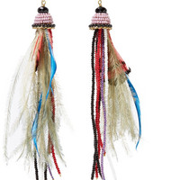 Etro - Bead and feather earrings
