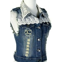 Lace Denim Vest