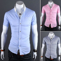 Slim Fit Men Fashion Short Sleeve Dress Shirt