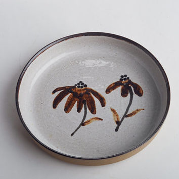 Martz Marshall Studios pottery signed stoneware bowl, modern flowers brown and black on white