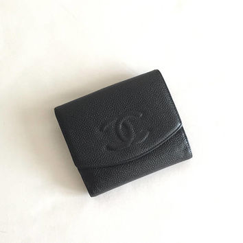 Chanel CC Quilted Caviar Skin Leather Compact Trifold Wallet Black