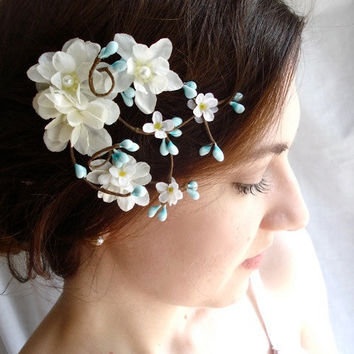 teal blue flower hair accessory, aqua blue bridal hairpiece - ROBINS EGG - white bridal hair clip, wedding hair accessories
