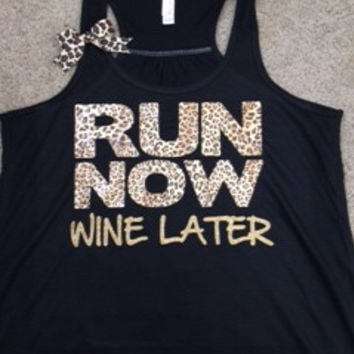 Run Now Wine Later - Leopard - Racerback Workout Tank - Womens Fitness - Ruffles with Love - Fitness Tank