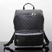 Louis Vuitton Men Leather Bookbag Shoulder Bag Handbag Backpack