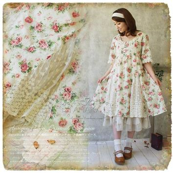 Japanese Style Vintage Print Dress Cotton Lace Petal Sleeve Knee Length Summer Dresses For Elegant Lady
