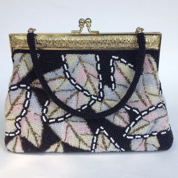 1960s Vintage Beaded purse with metal frame Black and Pink Multi Color