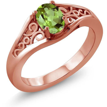 Oval Green Peridot 18K Rose Gold Plated Silver Ring