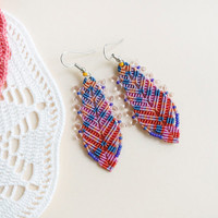 Bohemian feathers, micro macrame earrings, free spirit inspired, boho chic - Blue Pink Orange Lilac