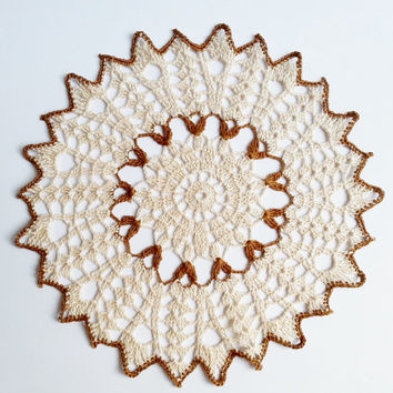 Beige and brown crochet doily cotton home decor table decoration wedding table decor