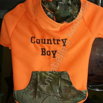 Orange Hunter Safety / Real Tree Camo Dog Hoodie