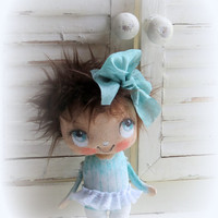 Sweet cloth doll with brownhair Hand painted turquoise aqua dress