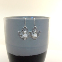 Earrings Sterling Silver Waves With White Freshwater Pearls