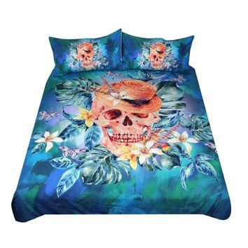 Blue Green Skull Bedding Set (Super Soft Duvet Cover with Pillowcases)