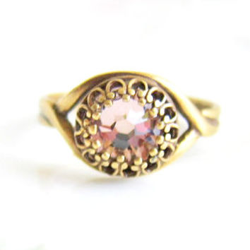 Rose Pink Ring Swarovski Crystal Rhinestone Ring Antique Filigree Film Noir The Great Gatsby Vintage Style Exotic Indie Bohemian LOTR