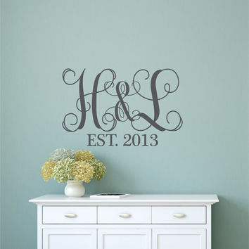 Monogram Wall Decal - Monogram Wall Decal - Name Wall Decal- Family Name Decal - Wedding Decal