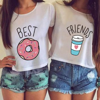 2016 Hot Summer H599 Women T-shirt Funny Best Friends T Shirt Donut And Coffee Duo Flowy Print Tees Couple Tops Plus Size Crop D