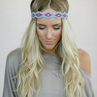 Beaded BOHO Head Piece, Beaded Headband, Bohemian, Head band, Turquoise/Pink Beads (PNM-HB-036)