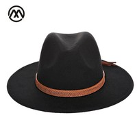 trend Solid Color Men Women Wool Felt Panama Hat Fedora Caps Leather Band  Snake pattern black Fedoras