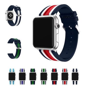 URVOI sport band for apple watch series 1 2 3 strap for iWatch Soft Silicone mix stripe NATO color Replacement band with adapter