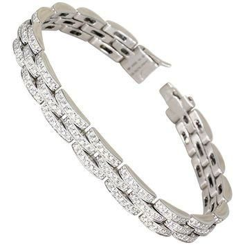 Cartier Maillon Panthere Diamond and White Gold Three-Row Link Bracelet