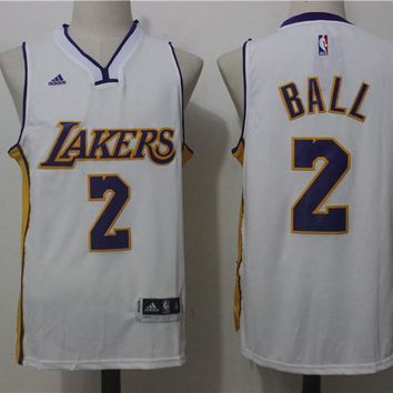 #2 Lonzo Ball Los Angeles Lakers Jersey White  Sewn Mens