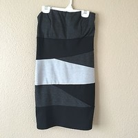 Black & Grey Gray Tube Bodycon Dress By Poetry Size M