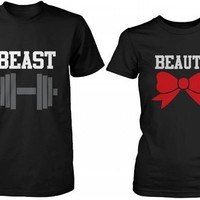 Beauty and the Beast - Cute His and Her Matching Black T-Shirts for Couples