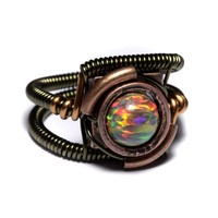 Steampunk Jewelry - Ring - Mexican Brown LAB created OPAL