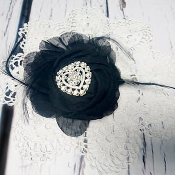 Black Corsage/brooch chiffon flower, bridesmaid Corsage hand made flower  feathers prom