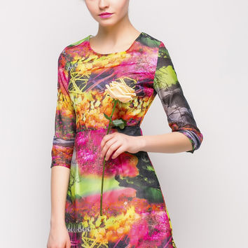 Multicolor Floral Half Sleeve A-Line Mini Dress