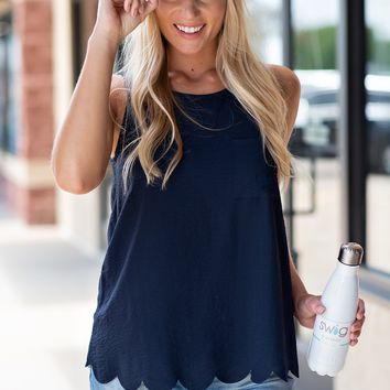 Picture this Moment Scalloped Tank: Navy