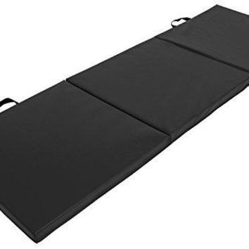 Tri-Fold Folding Thick Exercise Mat 6'x2' with Carrying Handles for Gymnastics