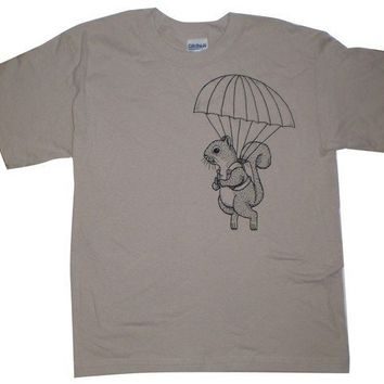 Parachuting Squirrel Youth TShirt XS Small Medium by MisNopalesArt