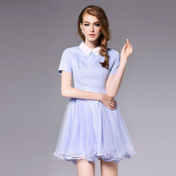 2016 Fashion Fall Winter Women Dresses High Quality Designer Runway Dress Elegant Lady Tulle Patchwork Princess Ball Gown Dress