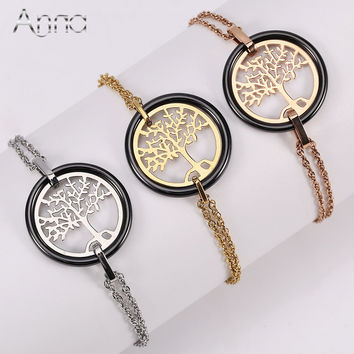 A&N Black Ceramic Bracelet Stainless Steel Hollow Life Tree Flake Ceramic Circle Unique Design Handmade Charm Bracelet For Women