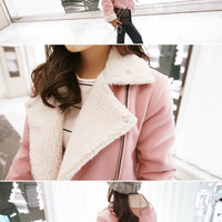 Diagonal-Zip Faux-Shearling Jacket