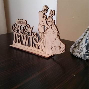 Cinderella and Prince, Rustic Wedding Cake Topper, Disney Wedding Cake Topper, Silhouette Custom Wedding Cake Topper, Unique cake topper