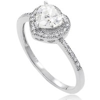 Alexandria Collection Sterling Silver Cubic Zirconia Heart Bridal and Engagement Ring: Jewelry