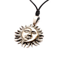 Yin Yang Sun Moon Silver Pewter Charm Necklace Pendant Jewelry