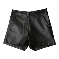 Faux Leather Shorts (Black) | STYLENANDA