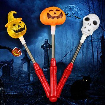 ESBON 1pc Creative Halloween Shaker Toy with LED Light Pumpkin Ghost Plastic Glow Stick Halloween Costume Glow Party Supplies Decor
