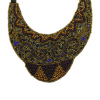 NECKLACE / MICRO BEAD / BIB / WOODEN BEAD / TIED CLOSING / 14 INCH LONG / 4 1/4 INCH DROP / NICKEL AND LEAD COMPLIANT