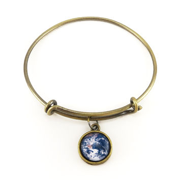 Planet Earth Bracelet, Adjustable Bangle