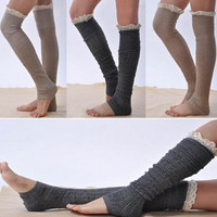 Trim Elegant Women Crochet Lace Knitting Boot Cuffs Foot Tights Leg Warmers Shoes Socks = 1945717956