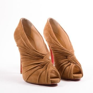 HCXX Camel Suede   Manchon 120mm   Peep Toe Booties