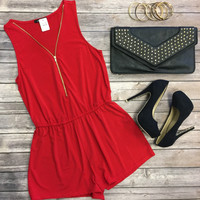 Zip Me Up Romper: Red