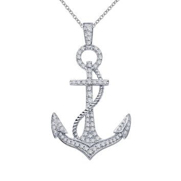 Lafonn Classic Sterling Silver Platinum Plated Lassire Simulated Diamond Necklace (0.74 CTTW)